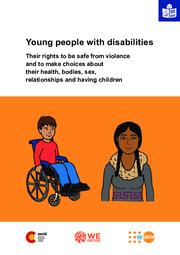 capa do relatorio em ingles. ilustracao de menino em cadeira de rodas e menina indigena.