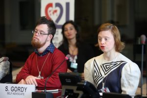Down syndrome self advocates present their cases during the World Down Syndrome Day meeting at the Palais the Nations, United Nations, Geneva. 21/03/2018 Photo: Paula Dias Leite/DSI