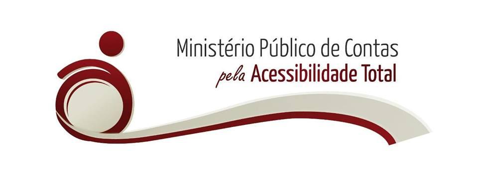 logo da campanha, em cinza e vermelho, cadeira de rodas estilizada escrevendo - Ministerio Publico de Contas pela acessilibilidade total.