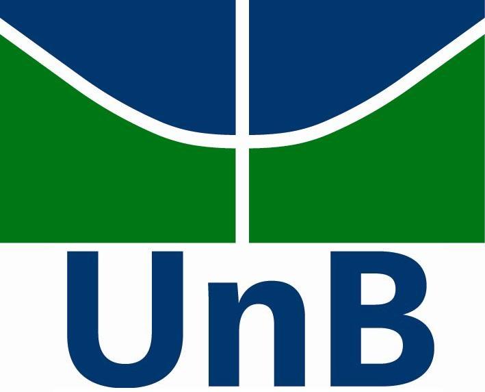 logo da unb, azul e verde, desenho de um aviao como o plano piloto de brasilia.