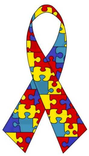 Fita com desenho de peças coloridas de quebra-cabeças, simbolo do autismol